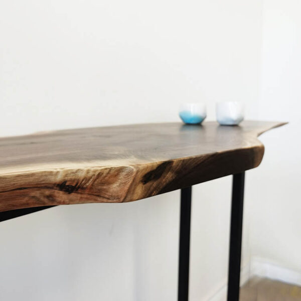 live edge hallway table