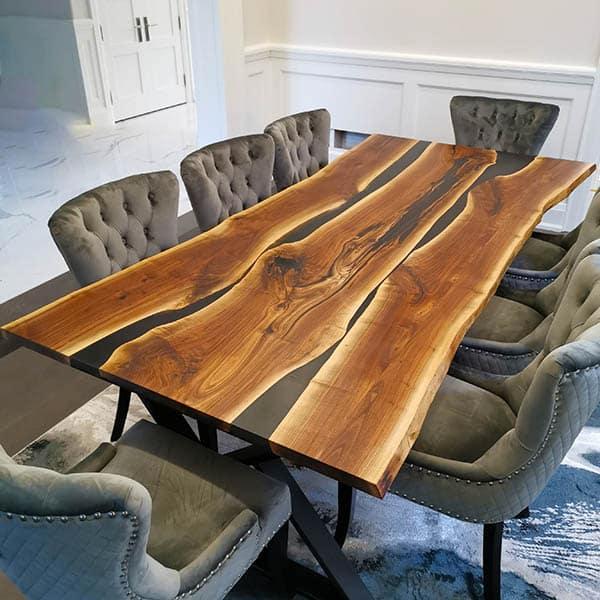 Custom Wood Table with Epoxy